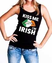 Kiss me i am irish tanktop mouwloos shirt zwart dames