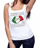 Kiss me i am italian tanktop mouwloos shirt wit dames