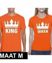 Koningsdag koppel king queen t-shirt oranje maat m