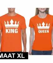 Koningsdag koppel king queen t-shirt oranje maat xl