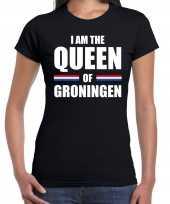 Koningsdag t-shirt i am the queen of groningen zwart dames