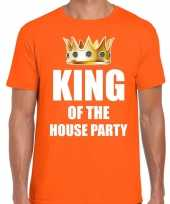 Koningsdag t-shirt king of the house party oranje heren