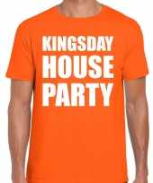 Koningsdag t-shirt kingsday house party oranje heren