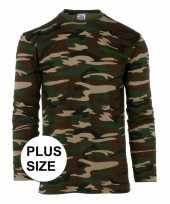Lange mouwen shirt camouflage grote maat
