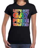 Lets get gay pride wasted gay pride t-shirt zwart dames