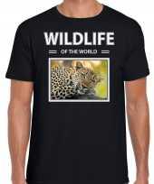 Luipaard t-shirt dieren foto wildlife of the world zwart heren