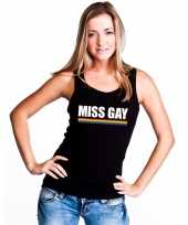 Miss gay mouwloos shirt zwart regenboog vlag dames