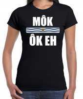 Mok ok eh vlag zeeland t-shirts zeeuws dialect zwart dames