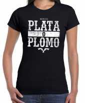 Narcos plata o plomo zilver of lood t-shirt zwart dames