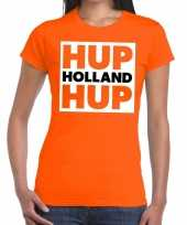 Nederland supporter t-shirt hup holland hup oranje dames