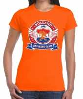 Oranje holland drinking team t-shirt dames 10140287
