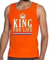 Oranje king for life tanktop mouwloos shirt heren