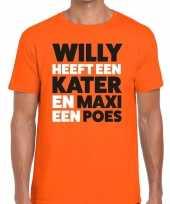 Oranje koningsdag maxi heeft een poes t-shirt heren