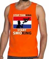 Oranje stop thinking start smoking tanktop mouwloos shirt here