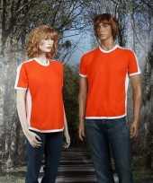 Oranje t-shirt wit contrast