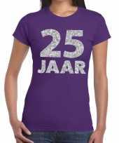 Paars vijfentwintig jaar verjaardag shirt dames zilveren bedrukking