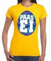Paasei t-shirt geel blauw ei dames