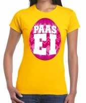 Paasei t-shirt geel roze ei dames