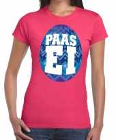 Paasei t-shirt roze blauw ei dames