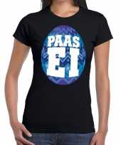 Paasei t-shirt zwart blauw ei dames