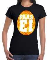 Paasei t-shirt zwart oranje ei dames