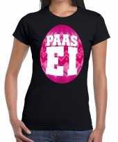 Paasei t-shirt zwart roze ei dames