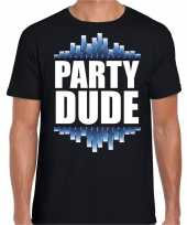 Party dude fun tekst t-shirt zwart heren