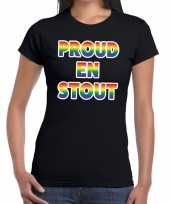 Proud stout gay pride t-shirt zwart dames