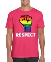 Respect lgbt-shirt regenboog vuist roze heren