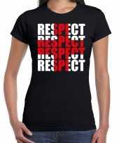 Respect rood kruis t-shirt zwart dames