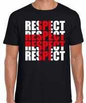 Respect rood kruis t-shirt zwart heren