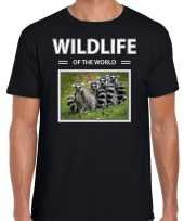 Ringstaart maki t-shirt dieren foto wildlife of the world zwart heren 10264303