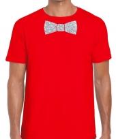 Rood fun t-shirt vlinderdas glitter zilver heren