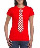 Rood t-shirt geblokte brabant stropdas dames