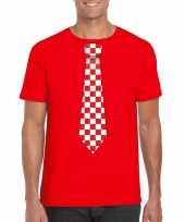 Rood t-shirt geblokte brabant stropdas heren
