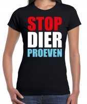 Stop dier proeven demonstratie protest t-shirt zwart dames