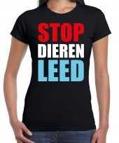 Stop dieren leed demonstratie protest t-shirt zwart dames