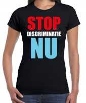 Stop discriminatie nu demonstratie protest t-shirt zwart dames