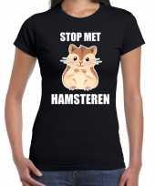 Stop hamsteren t-shirt zwart dames