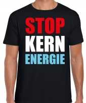 Stop kern energie demonstratie protest t-shirt zwart heren