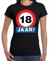 Stopbord 18 jaar verjaardag t-shirt zwart dames