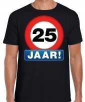 Stopbord 25 jaar verjaardag t-shirt zwart heren