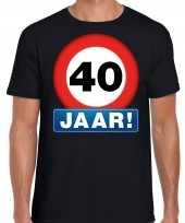 Stopbord 40 jaar verjaardag t-shirt zwart heren