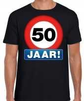 Stopbord 50 jaar abraham verjaardag t-shirt zwart heren