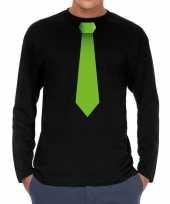 Stropdas groen long sleeve t-shirt zwart heren