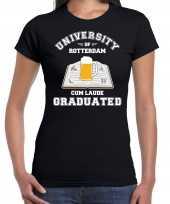 Studenten carnaval t-shirt zwart university of rotterdam dames