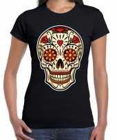 Sugar skull fashion t-shirt rock punker zwart dames