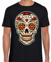 Sugar skull fashion t-shirt rock punker zwart heren