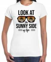 Sunny side feest t-shirt shirt look at the sunny side of life wit dames