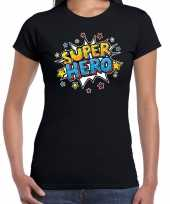 Super hero cadeau t-shirt zwart dames